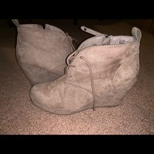 Shoes - Beige/Tan Boot Wedges